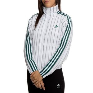 Adidas Green Striped Windbreaker Zip Up